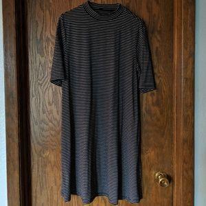 Apt 9 Black & White Stripe A-line Mock Neck Dress